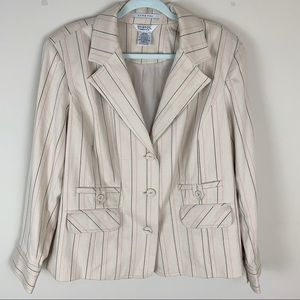 George Women's Plus Stretch Cream Striped Blazer